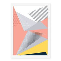 Poster Abstrato Geométrico Rosa Cinza - AntiMonotonia Store