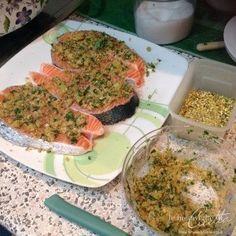 Tranci di salmone al pistacchio