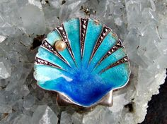 Germany Sterling Silver, Marcasites and Enamel Shell Brooch with Pearl, Stunning Marcasites, Beautiful Blue Gradations of Enamel, Signed by postGingerbread on Etsy