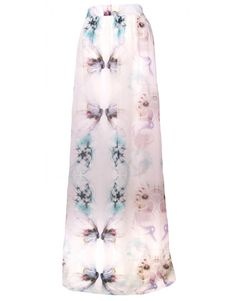 Project D Floral Silk Maxi Skirt, White  waistband with zip fastening  beautiful blue and purple floral pattern all over  Floor length  - perfect paired with some super high summer wedges!  fully lined  100% Silk  dry clean only   marked UK