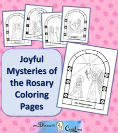A free coloring page of the First Joyful Mystery of the Holy Rosary, The Annunciation, ready to print right now!