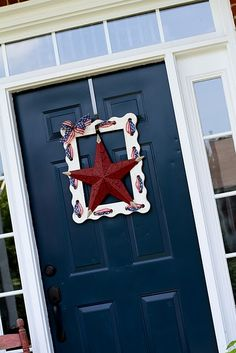 ribbon embellished frame for the front door - just THINK of the possibilities!