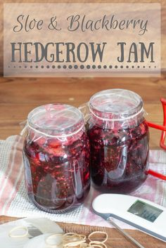 This Sloe and Blackberry Hedgerow Jam makes the best of all the foraged fruits you can gather for free in late summer and autumn. Blackberry Recipes, Jam Recipes, Fruit Recipes, Salmon Recipes, Jelly Recipes, Chutney Recipes, Healthy Recipes, How To Make Jam, Jam And Jelly