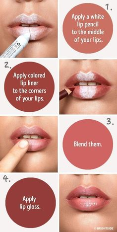 Six simple tricks that will make your lips look fuller use a white pencil to fake fuller lips contour lips Younique Makeup Hacks Makeup Tips Lips Makeup Ideas Makeup S. Makeup Tips Younique, Makeup Tips Lips, Makeup Tricks, Makeup Set, Makeup Brushes, Makeup Ideas, Makeup Tutorials, Makeup Stuff, Makeup Tools
