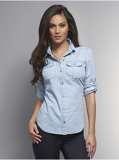 Spring Street Chambray Shirt from New York & Company (Size Medium in Chambray color- the light color)