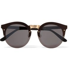 Illesteva Palermo round-frame gold-tone and acetate sunglasses (760 BRL) ❤ liked on Polyvore featuring accessories, eyewear, sunglasses, glasses, oculos, black, gold colored glasses, lens glasses, acetate sunglasses and acetate glasses