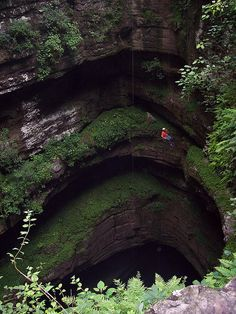 You were once able to hike into the cave. But, current land owners do not allow the public in. Neversink Pit, near Scottsboro, Alabama