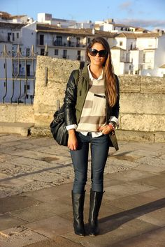 Fall/winter outfit. olive green jacket with black leather sleeves- Fashion Pills, Creme and light brown striped sweater with slouchy oversized pocket- sheinside.com, white collared shirt, skinny jeans, and black boots. Pair with a black bag.