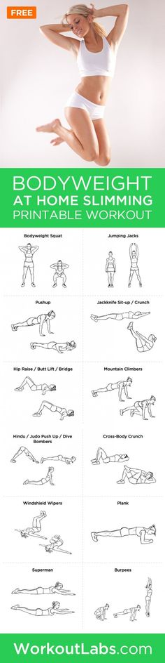 Bodyweight At-Home Workout Routine for Women If you want to step away from the gym and still maintain your fitness level while burning fat, this home workout program is for you.