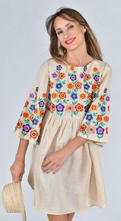 Fanm Mon SS17 LOLA Vyshyvanka Mini Dress Embroidered Cream Linen Multi Floral Handmade Embroidery Dress