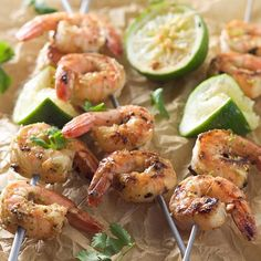 Spicy Cilantro Shrimp Skewers with Honey Lime Dipping Sauce!