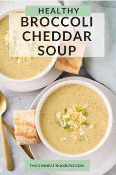 Healthy Broccoli Soup is a delicious cozy meal. Easy to make in the instant pot crockpot or on the stove - this broccoli cheddar soup is a must make! Gluten free and easily made dairy free this creamy soup is seriously yummy! Healthy Side Dishes, Side Dish Recipes, Lunch Recipes, Dinner Recipes, Crockpot Recipes, Healthy Vegetable Recipes, Healthy Gluten Free Recipes, Vegetarian Recipes, Crockpot Broccoli Cheddar Soup