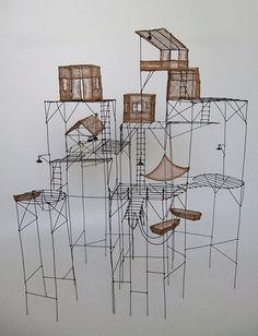 Isabelle Bonte es una escultura francesa que utiliza el hierro de color marrón para crear mundos intrincados, etéreos y maravillosamente poéticos, que de a