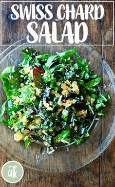 Swiss Chard Salad with Lemon, Parmesan, and Breadcrumbs — a perfect salad when the tender swiss chard first hits the markets. # swiss chard recipes salad Swiss Chard Salad with Parmesan & Breadcrumbs Rainbow Chard Recipes, Swiss Chard Recipes, Veggie Recipes, Pasta Recipes, Soup Recipes, Salad Recipes, Vegetarian Recipes, Healthy Recipes, Keto Recipes