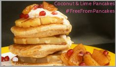 Perfect for Shrove Tuesday these Coconut & Lime Freefrom Pancakes (Glutenfree, Vegan) are layered with grilled pineapple & soaked in a ginger syrup!