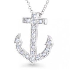 Bling Jewelry 925 Sterling Silver Pave CZ Anchor Pendant Necklace 16 inches