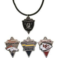 Carolina Glamour Collection Pewter Unisex AFC West Team Licensed NFL Pennant Necklace