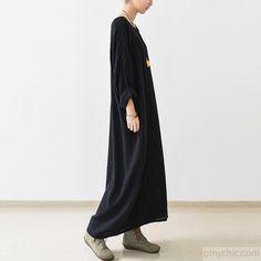 2016 fall thin black linen dresses long sleeve linen caftans gown