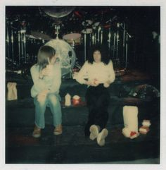 """i-will-be-a-legend: Polaroids taken by roadie Brian """"Nudger"""" Spencer during Queen's rehearsals on their american tour circa 1978, featuring Freddie Mercury, Roger Taylor (first one), Brian May and roadie Peter """"Ratty"""" Hince (second one)"""