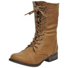 Tan Military Combat Boots With Zipper Closure ($40) ❤ liked on Polyvore featuring shoes, boots, boots women, footwear, tan, mid calf boots, slouch boots, military combat boots, tall lace up boots and side zipper boots