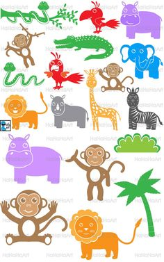 Safari Animals Monogram - Digital Cutting files svg png dxf eps Vinyl cut, Design files Instant Download, Personal, Commercial use (00091c)