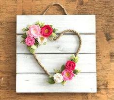 Felt Wreath pink heart baby shower felt flowers wedding