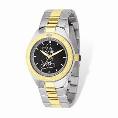Disney Adult Size Two-tone Black Dial Mickey Mouse Watch