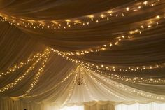 Star style fairy light canopy (warm white lights) in a marquee at Bassmead Manor