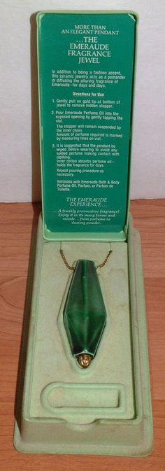 Vintage Coty Emeraude Ceramic Perfume Pendant in original Box