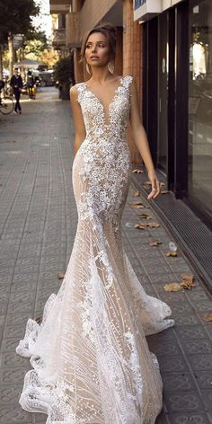 wedding dresses fall 2019 fit and flare deep v neckline floral appliques lace blush tina valerdi Fall 2019 Bridal Fashion Week is finally open. Many famous designers showcased their bridal collection. We want to show the best wedding dresses fall Wedding Dress Trends, Fall Wedding Dresses, Bridal Dresses, Lace Wedding, Trendy Wedding, Wedding Ideas, Illusion Wedding Dresses, Mermaid Wedding Gowns, Bridesmaid Dresses
