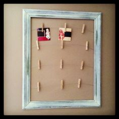 Used to display monthly photos of our baby for the first year. One vintage picture frame, short wood screws, galvanized steel wire, and clothes pins.