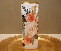 LED Pillar Candle With Peonies Bouquet by DontForgetTheFlowers on Etsy Flickering Candle, Pillar Candles, Memorial Candles, Decorative Candles, Very Lovely, Beautiful, Wedding Gifts For Bride, Peonies Bouquet, 5 Hours