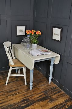 This space saving Drop Leaf Pembroke Table is just perfect for small spaces. When leaves are extended, this table can seat 4 people, but then drop down to easily store away. We've painted in a pretty pastel blue (a mix of Annie Sloan Greek Blue & Old White) and an Old White top, all lightly distressed and aged with dark wax. http://www.thetreasuretrove.co.uk/tables/french-elm-drop-leaf-pembroke-table