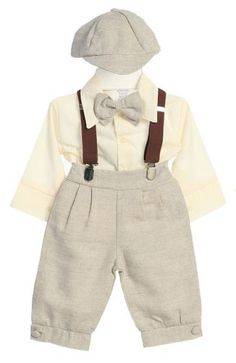 DapperLads - Toddlers & Infants 5 - Piece Linen Knicker Set - Sandstone - Boys Vintage Style KNICKER Sets - knicker sets, argyle and solid knee socks, vintage theme outfits, old fashioned look outfits, boy\'s golf clothes, Victorian theme boy\'s clothes, vintage style boy\'s clothes. Popular Ring Bearer An