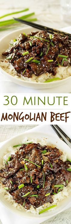 30 Minute Mongolian Beef Recipe via The Chunky Chef   Mongolian beef is such a classic and delicious Asian dish... and easy to make at home! In just 30 minutes you'll have an incredible meal! - The BEST 30 Minute Meals Recipes - Easy, Quick and Delicious Family Friendly Lunch and Dinner Ideas