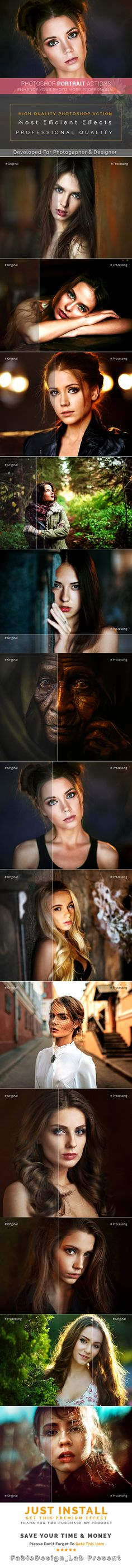 #Photoshop Portrait Actions - #Photo Effects Actions Download here: https://graphicriver.net/item/photoshop-portrait-actions/19383439?ref=alena994