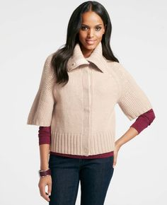 Stand Collar Short Sleeve Sweater Jacket