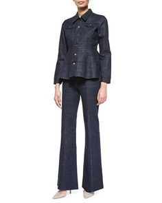 Long-Sleeve+Denim+Jacket+&+High-Waist+Flare-Leg+Denim+Pants+by+Co+at+Neiman+Marcus.