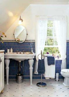 vintage bathroom w/ blue tile