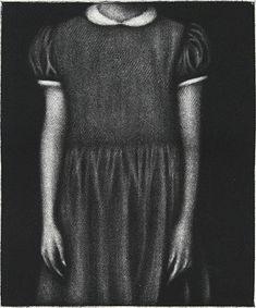 Cleo Wilkinson. Acquiesce, 2009. Mezzotint. Edition of 40. 4-5/8 x 3-3/4 inches.