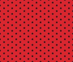 Superstars Black on Red-Small fabric by juliesfabrics on Spoonflower - custom fabric