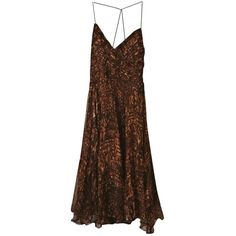 Pre-owned Zara Silk Mid-Length Dress (125 PLN) ❤ liked on Polyvore featuring dresses, brown, women clothing dresses, zara dresses, preowned dresses, pre owned dresses, brown cocktail dress and silk cocktail dress