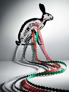 Artist: Helen Friel - Rabbit / Bunny Paper cut / assemblage / skeleton / art )
