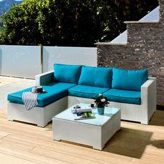 Lounge Sitzgruppe Paradise Lounge (3-teilig) - Polyrattan / Textil - Weiß / Türkis Outdoor Sectional, Sectional Sofa, Outdoor Furniture, Outdoor Decor, Balcony, Lounge, Home Decor, Terrace, Sofa Set