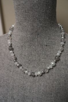 Grey White and Silver Beaded Necklace with Pearls by LinksLocks, $30.00