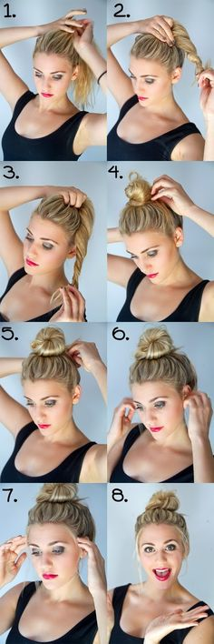 Bun Hairstyles with 1 Minute - A bun was basically made for dirty hair. A bun is the best and easiest way to get your hair out of your face and to make it look polished even when it's greasy. Hair Salons www. Pretty Hairstyles, Easy Hairstyles, Summer Hairstyles, Hairstyles 2018, Latest Hairstyles, Celebrity Hairstyles, Wedding Hairstyles, Straight Hairstyles, Beach Hairstyles Medium