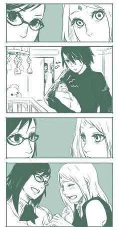 Sakura, Karin, Sasuke, and Sarada Cus ya know Karin delivers Sarada not birthed her had to put that out thereeeee