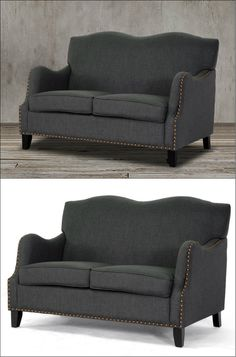 Add a classic touch and modern appeal to your living space with this loveseat settee featuring stylish curves on the backrest and arms, bronze nail head trim details, birch frame, black legs with non-marking feet and dark gray elegant linen-polyester upholstery to offer a higher level of comfort and beauty to you, your family and your guests. Perfect for modern, contemporary or transitional-styled living room.