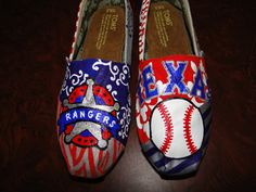 Texas Rangers Toms.... I want to make some so bad, I just don't want to ruin a good pair of shoes!