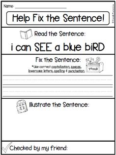 Fix it Up Sentences-Grammar, Writing, Sight Words 1st Grade Writing, First Grade Reading, Kindergarten Writing, Teaching Writing, Writing Activities, Writing Prompts, Writing Ideas, Kindergarten Classroom, Teaching Ideas